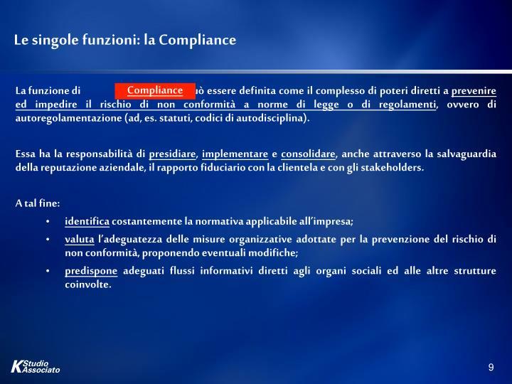 Le singole funzioni: la Compliance