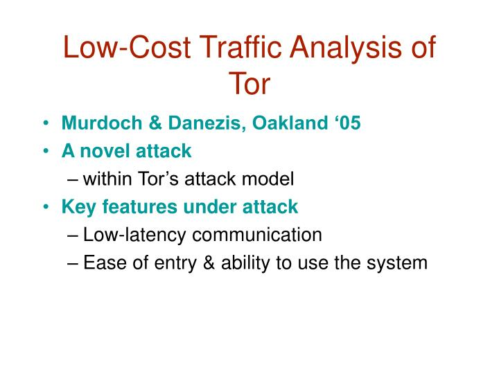 Low-Cost Traffic Analysis of Tor