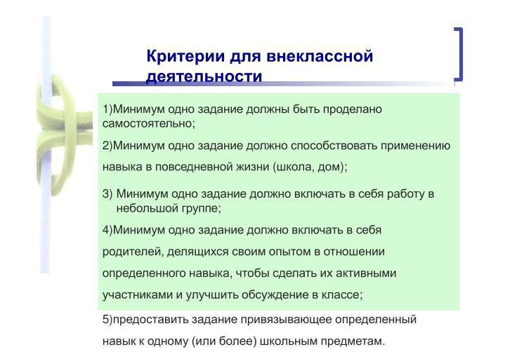 Критерии для внеклассной деятельности