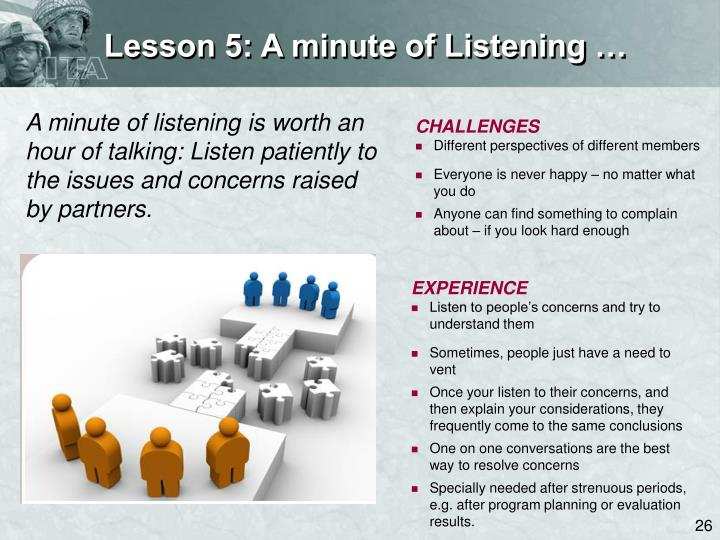 Lesson 5: A minute of Listening …