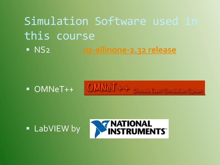 Simulation Software used in this course
