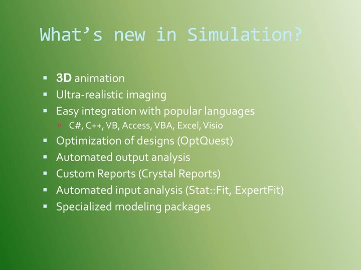 What's new in Simulation?