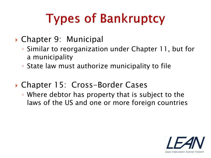 types of bankruptcy There are two types of bankruptcy cases that most individuals or small businesses consider: chapter 7 straight bankruptcy chapter 13.