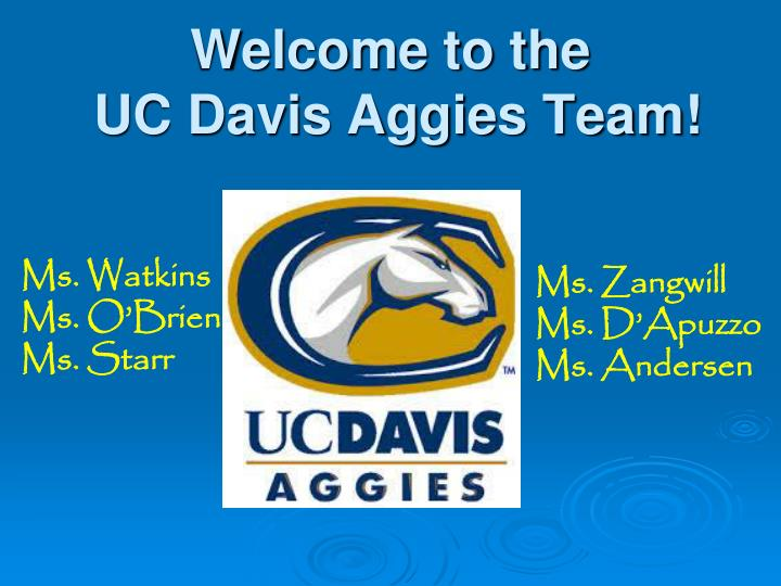 welcome to the uc davis aggies team n.