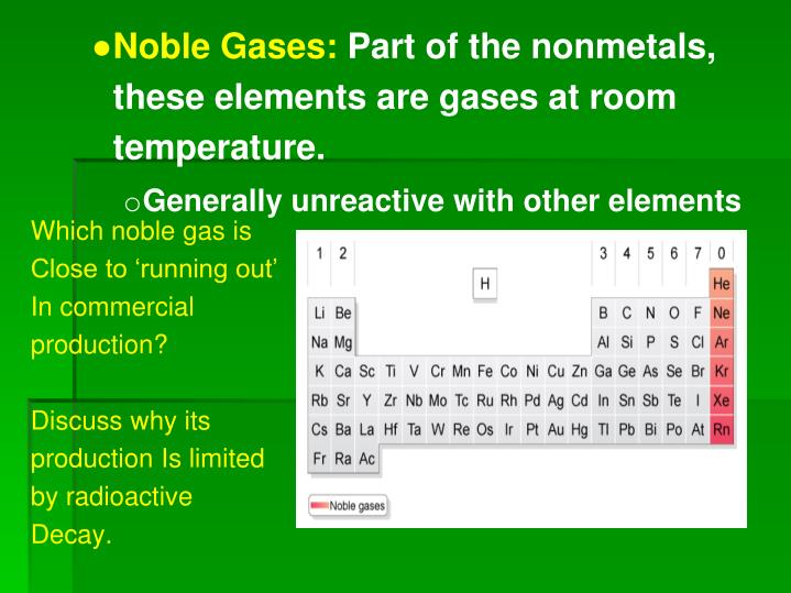 Why Are Most Nonmetals Gases At Room Temperature