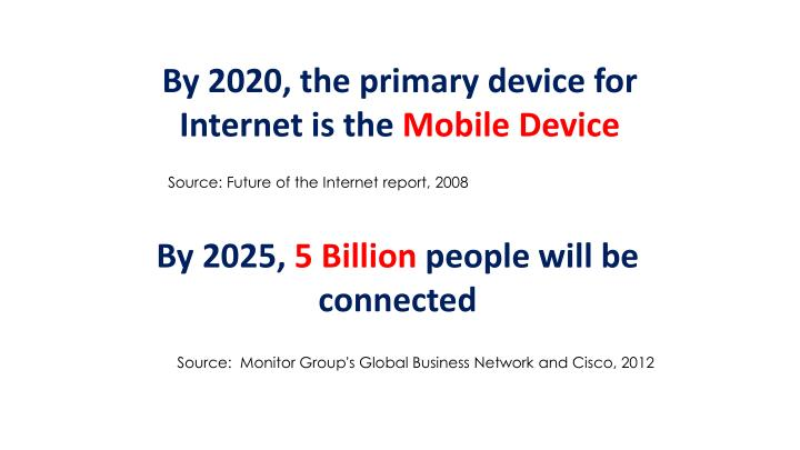By 2020, the primary device for Internet is the