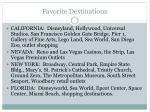 favorite destinations