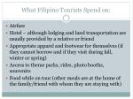 what filipino tourists spend on