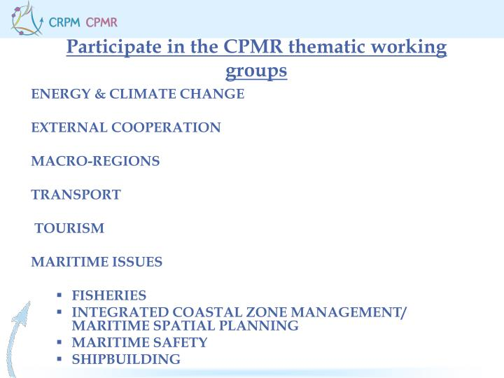 Participate in the CPMR thematic working groups