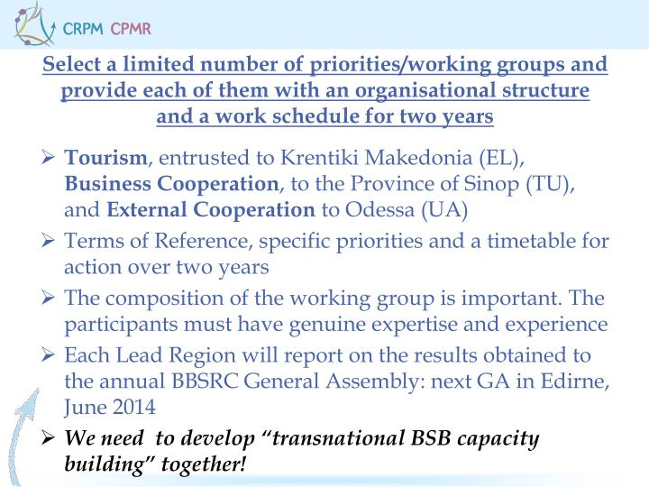 Select a limited number of priorities/working groups and provide