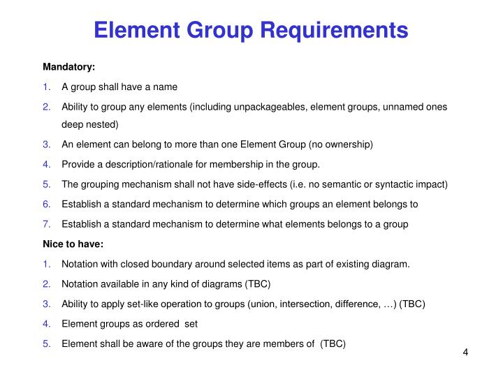 Element Group Requirements