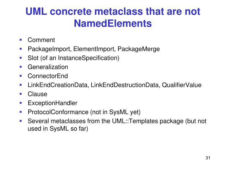 UML concrete metaclass that are not NamedElements