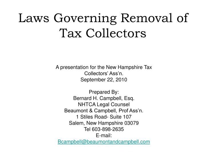 laws governing removal of tax collectors n.