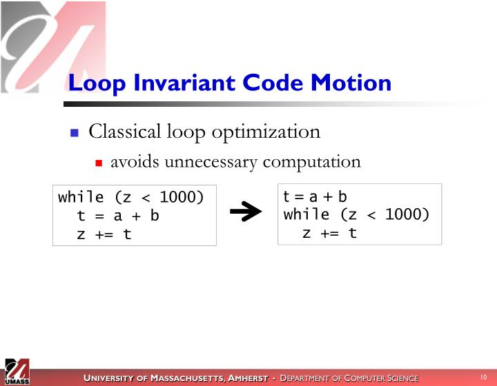 Loop Invariant Code Motion
