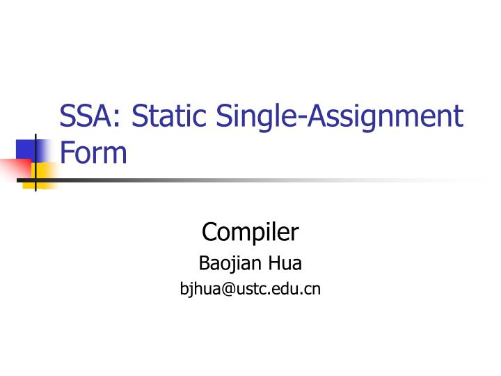 ssa static single assignment form n.