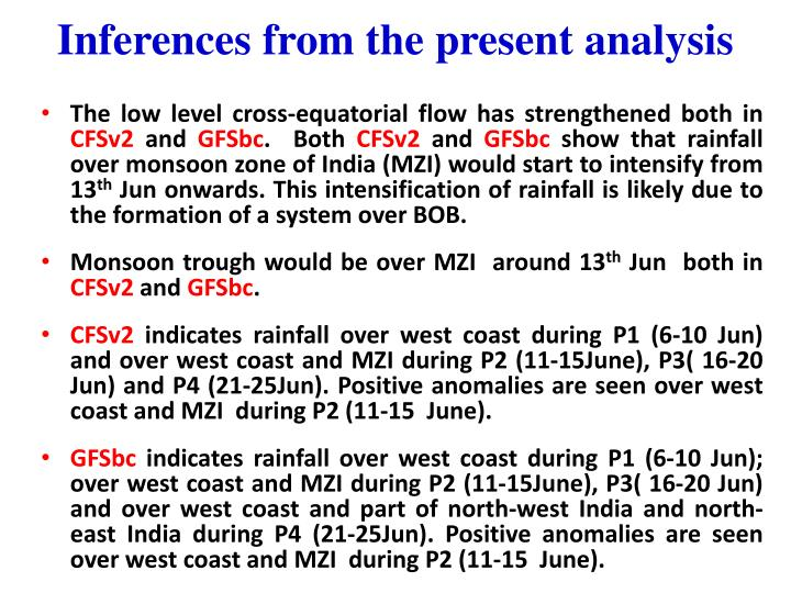 Inferences from the present analysis