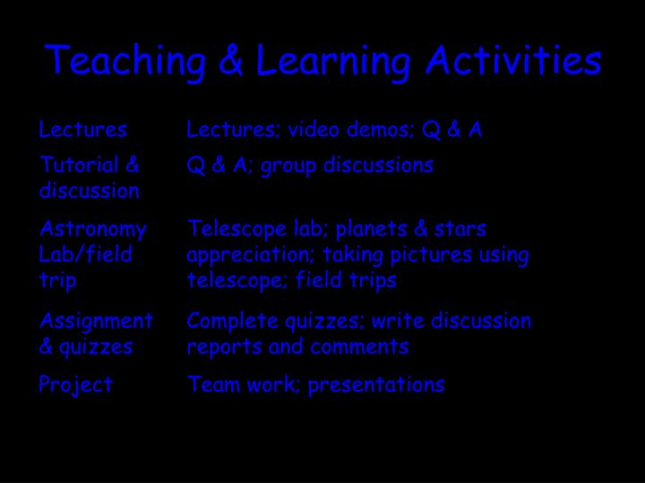 Teaching & Learning Activities