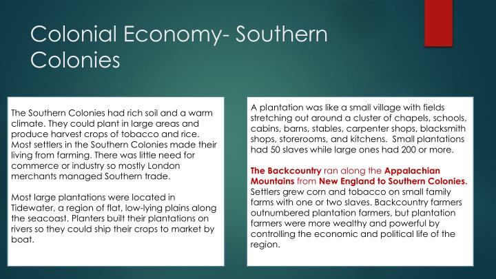 what is the economy of the southern colonies