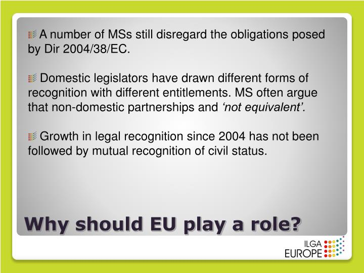 A number of MSs still disregard the obligations posed by Dir 2004/38/EC.