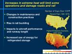 increases in extreme heat will limit some operations and damage roads and rail