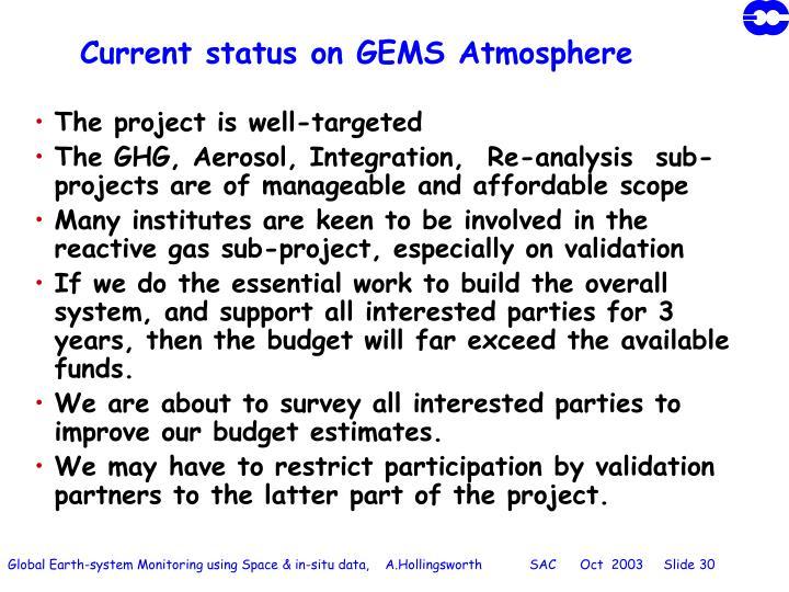 Current status on GEMS Atmosphere