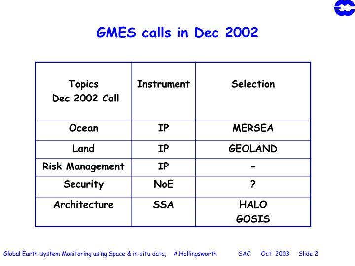 Gmes calls in dec 2002