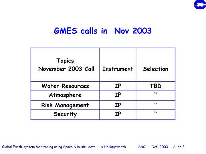 Gmes calls in nov 2003