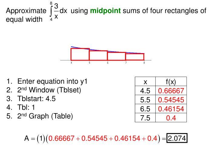Riemann Sum Calculator Table