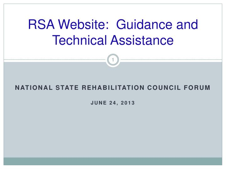 rsa website guidance and technical assistance n.
