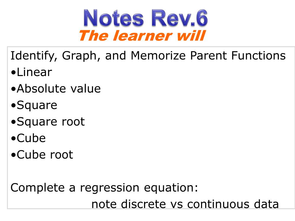 ppt - identify, graph, and memorize parent functions linear absolute