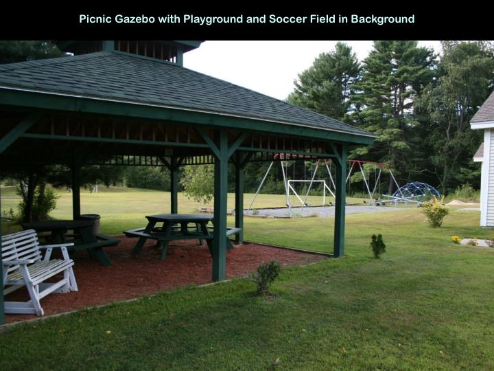 Picnic Gazebo with Playground and Soccer Field in Background