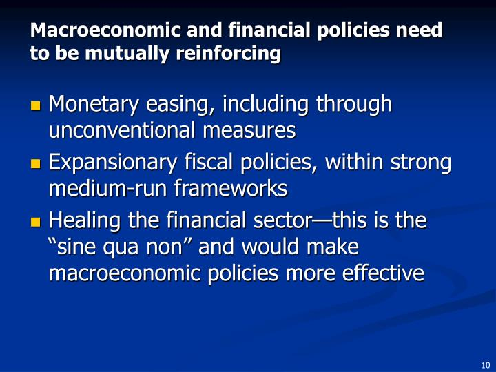 Macroeconomic and financial policies need to be mutually reinforcing