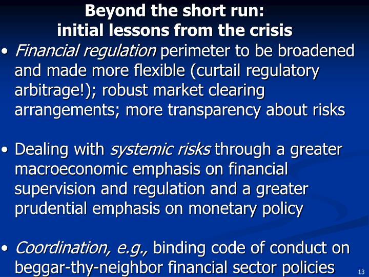 Beyond the short run: