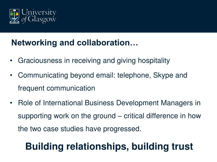 Networking and collaboration…