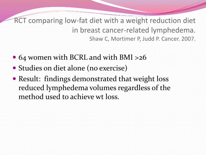 RCT comparing low-fat diet with a weight reduction diet in breast cancer-related lymphedema.