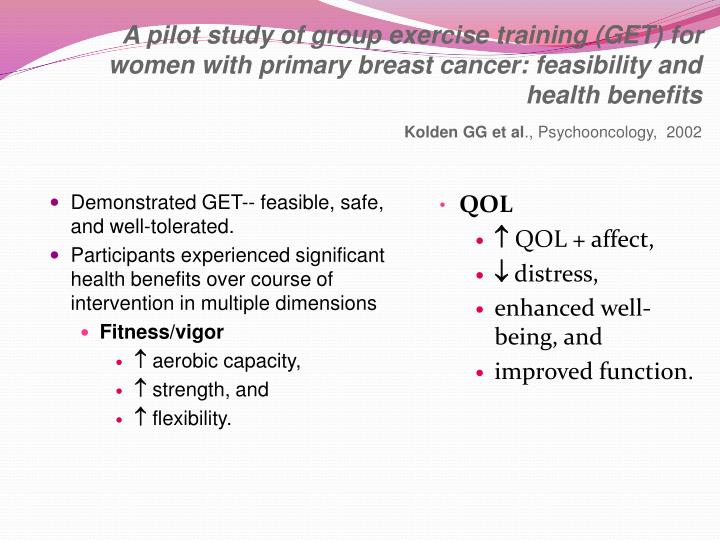 A pilot study of group exercise training (GET) for women with primary breast cancer: feasibility and health benefits
