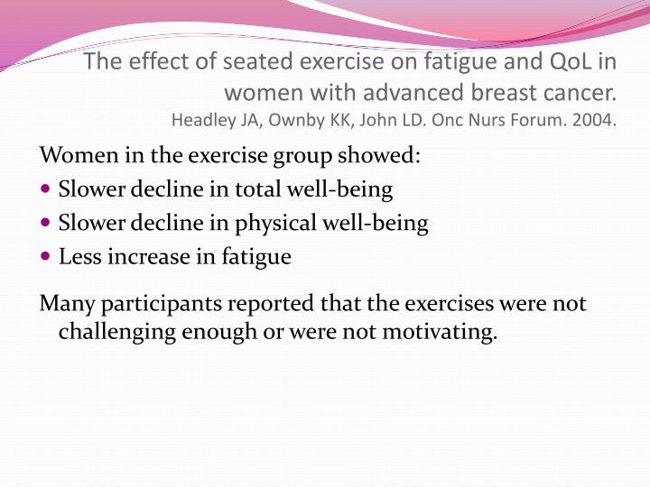 The effect of seated exercise on fatigue and QoL in women with advanced breast cancer.