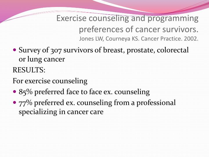 Exercise counseling and programming preferences of cancer survivors.