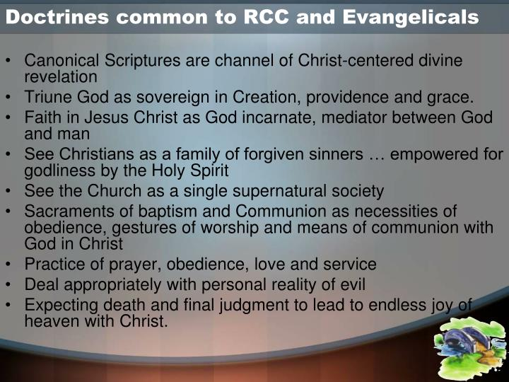 Doctrines common to RCC and Evangelicals