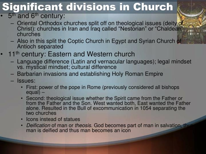 Significant divisions in Church