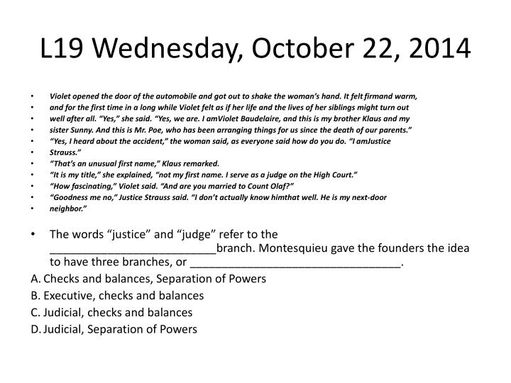 L19 Wednesday, October 22, 2014