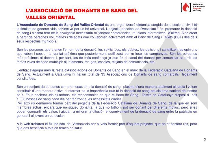 L'ASSOCIACIÓ DE DONANTS DE SANG DEL