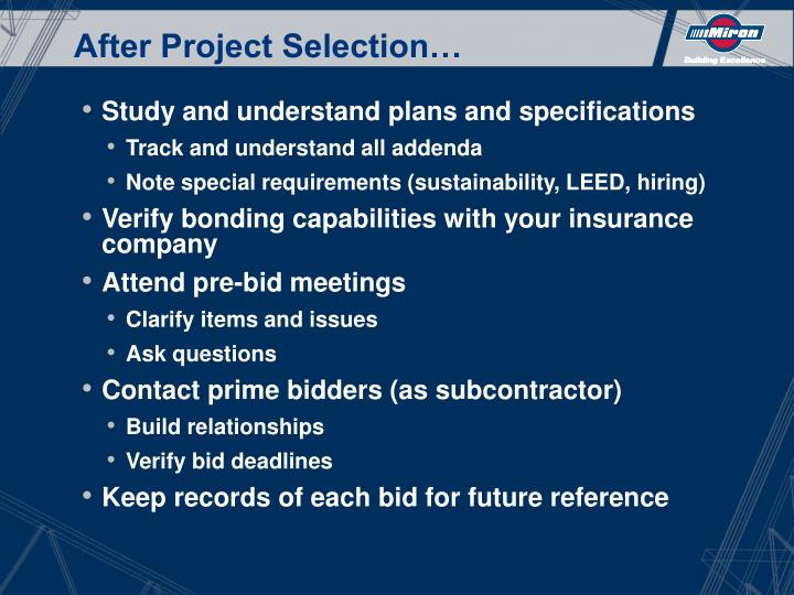 After Project Selection…