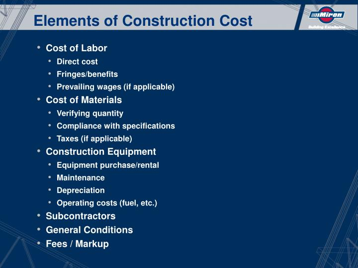 Elements of Construction Cost