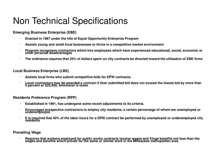 Non Technical Specifications