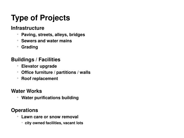Type of Projects