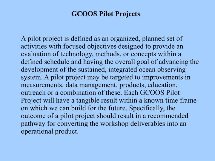GCOOS Pilot Projects