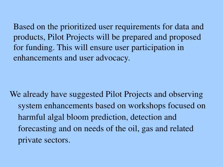 We already have suggested Pilot Projects and observing system enhancements based on workshops focused on harmful algal bloom prediction, detection and forecasting and on needs of the oil, gas and related private sectors.