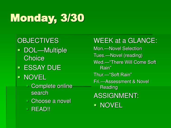 Monday 3 30