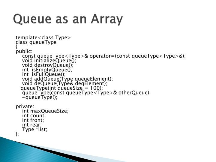 Queue as an Array